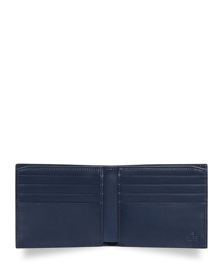 GucciGhost Star Leather Wallet, Navy