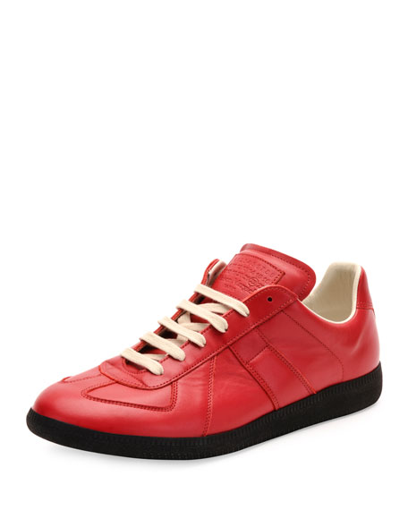 Replica Leather Low-Top Sneaker, Red/Black