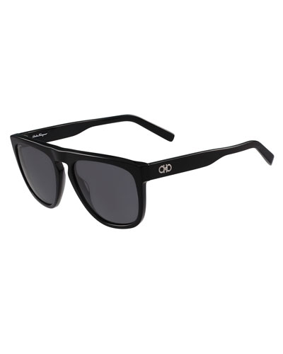 Gancini Flat-Top Polarized Sunglasses, Black