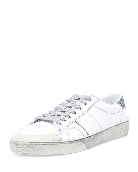 Saint Laurent SL/37 Distressed Low-Top Sneaker, White/Silver