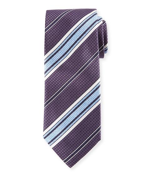 Textured Stripe Woven Silk Tie, Blue