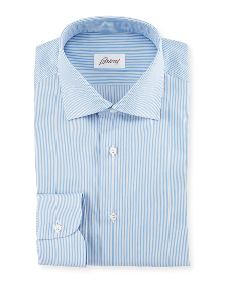 Brioni Micro-Striped Woven Dress Shirt, Blue