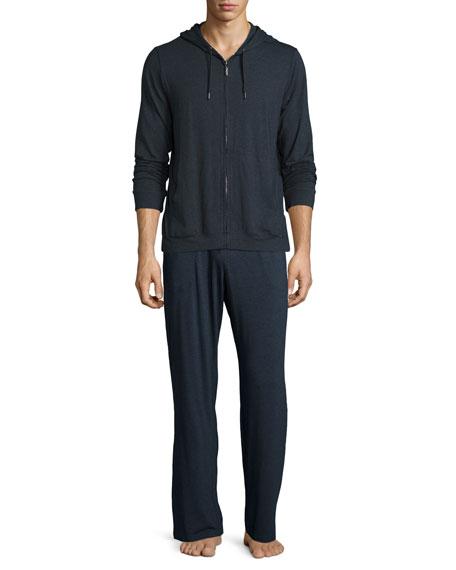Jersey Front-Zip Hoodie, Charcoal