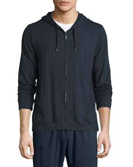Jersey Front-Zip Hoodie, Anthracite