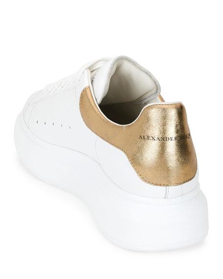 Leather Low-Top Sneaker w/Golden Heel, White