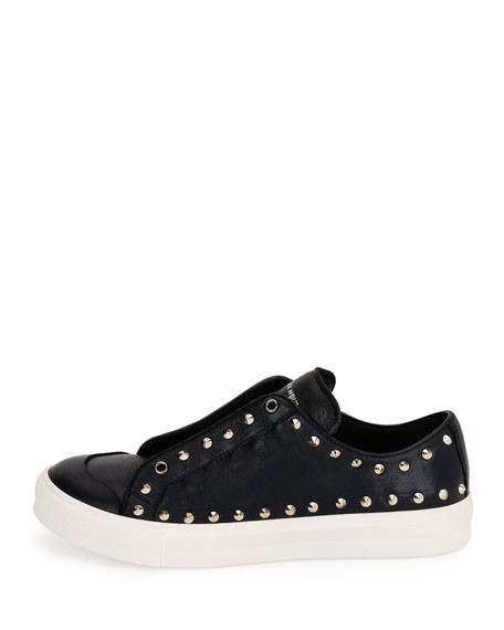 Men's Studded Leather Low-Top Sneakers, Black