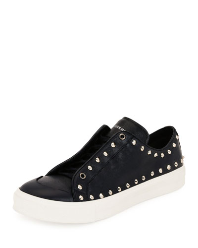 Studded Leather Low-Top Sneaker, Black