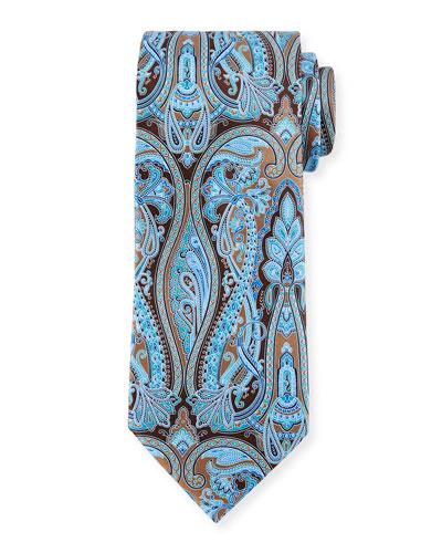 Paisley-Print Silk Tie, Brown