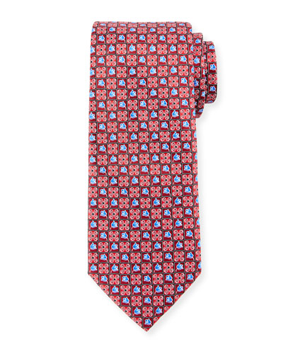 Boxed Flower-Print Silk Tie, Red