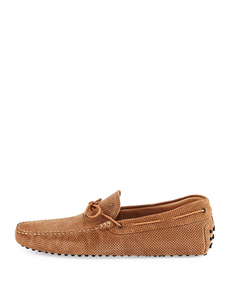 Perforated Suede Driver, Tan