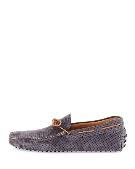 Perforated Suede Driver, Gray