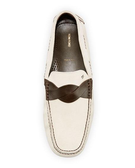 Samuel Twist-Strap Driving Shoe, Crème