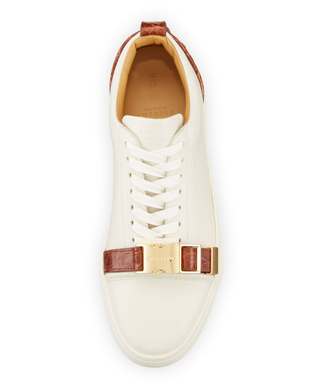 Men's 50mm Low-Top Sneaker with Croc-Embossed Leather Details, Off White Peanut