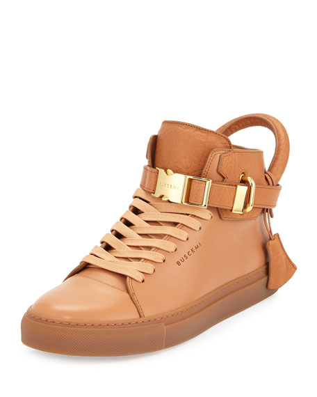 Buscemi 100mm Bison High-Top Sneaker, Peanut
