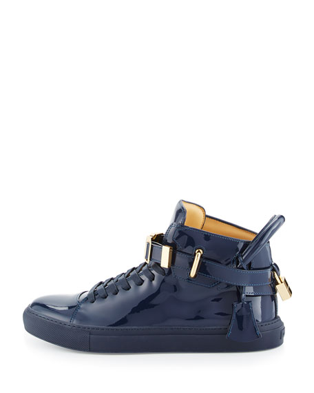 100mm Patent Leather High-Top Sneaker, Blue