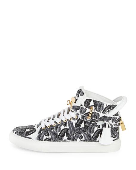 100mm Palm High-Top Sneaker, Black/White