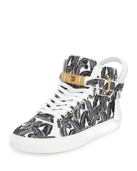 Buscemi 100mm Palm High-Top Sneaker, Black/White