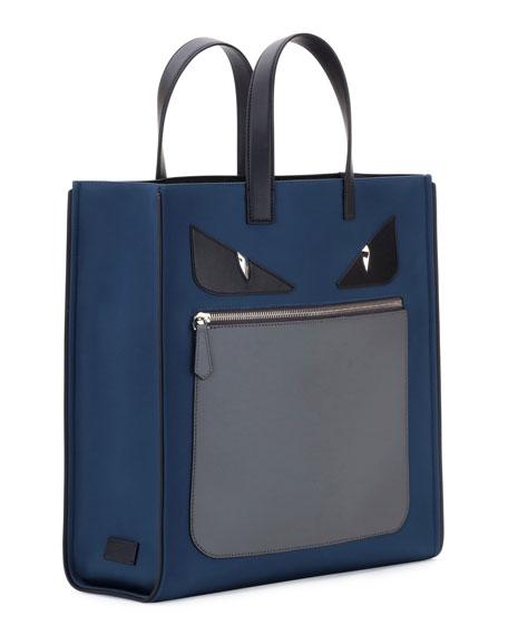 Monster Neoprene & Leather Tote Bag, Blue/Gray