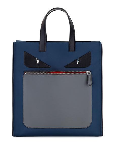Fendi Monster Neoprene & Leather Tote Bag, Blue/Gray