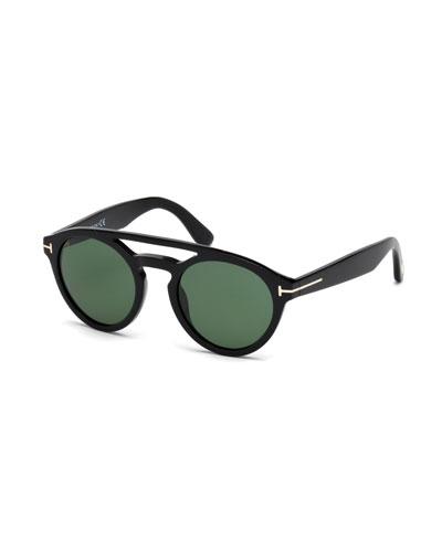 Clint Round Acetate Sunglasses, Black