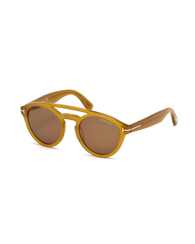 Clint Round Acetate Sunglasses, Amber