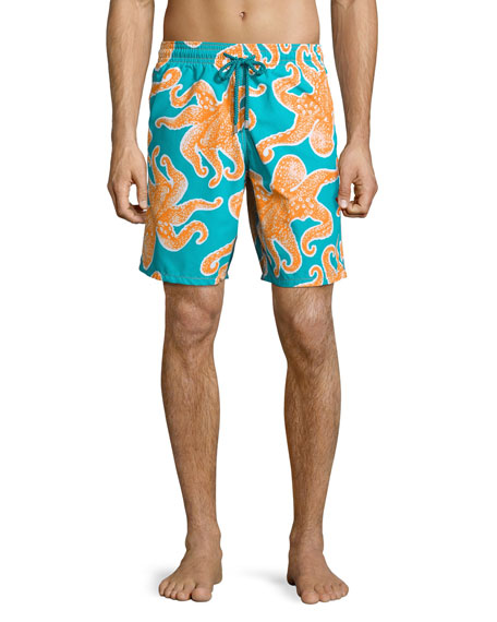Vilebrequin Okoa Octopus-Print Swim Trunks, Blue/Orange