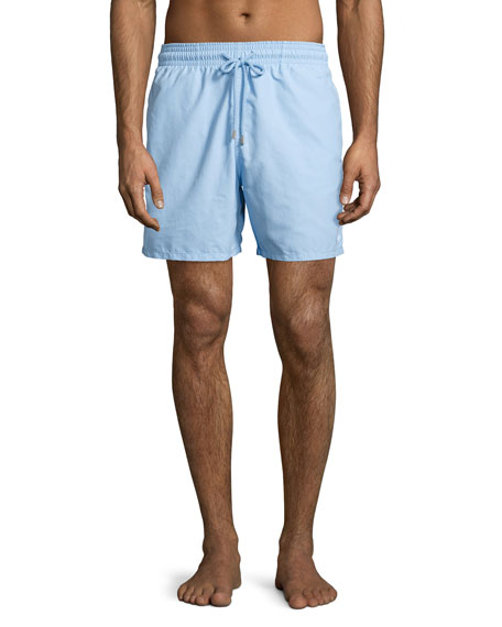 Moorea Coral & Fish Water-Reactive Swim Trunks, Sky Blue