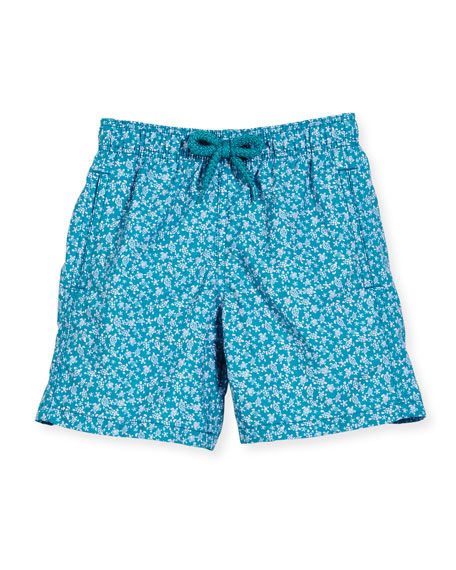 Vilebrequin Jim Micro-Turtle Printed Swim Trunks, Blue Pattern,