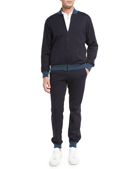 Brioni Two-Tone Track Suit, Navy Blue