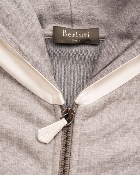 Leather-Hood Zip-Front Hoodie, Gray