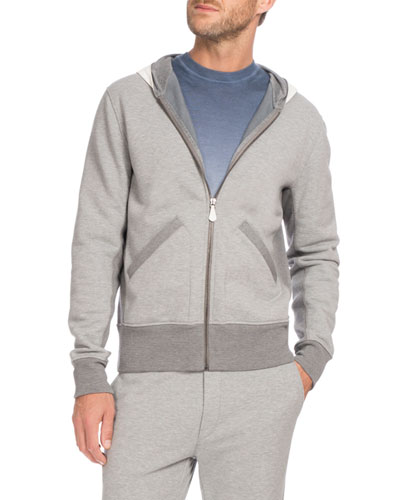 Leather-Hood Zip-Front Hoodie, Gray