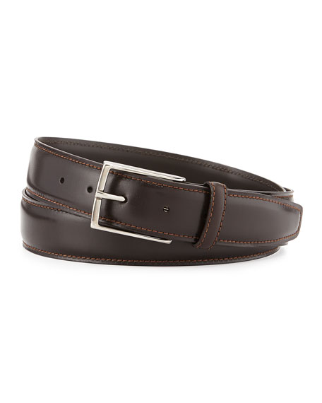 Ermenegildo Zegna Leather Belt w/Polished Buckle, Dark Brown