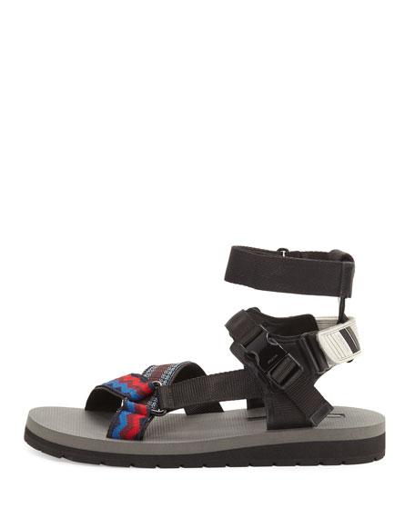 Men's Runway Nylon Strap Sandals, Multicolor/Black