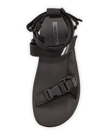 Men's Runway Nylon Strap Sandals, Black