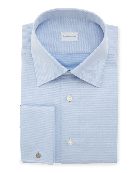 Ermenegildo Zegna Diagonal-Stripe French-Cuff Dress Shirt, Blue