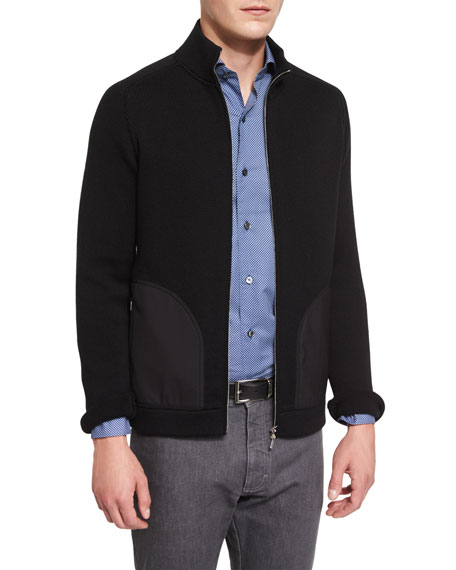 Seed-Stitch Chunky Knit Zip-Up Cardigan, Black