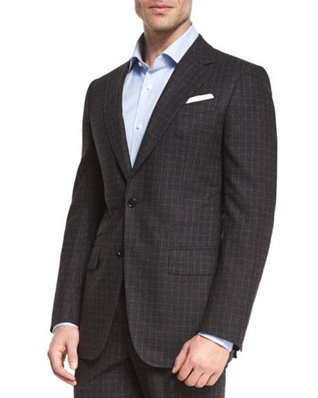 Ermenegildo Zegna Check Two-Piece Suit, Charcoal