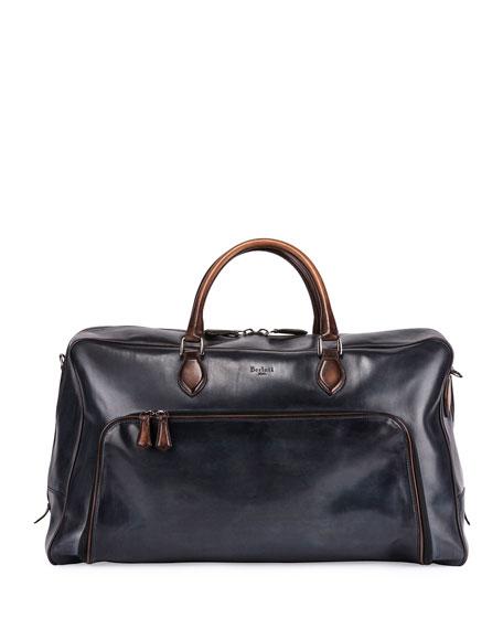 Calf Leather Travel Bag, Indigo