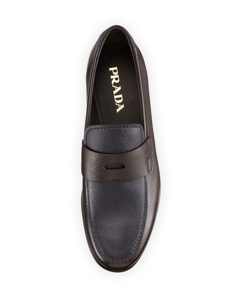 Saffiano Bicolor Penny Loafer, Brown/Blue