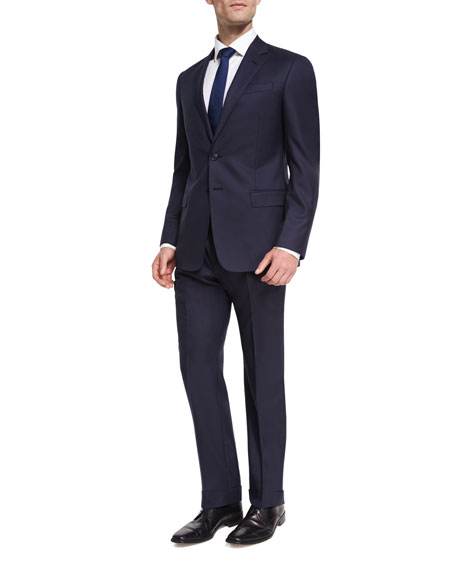Two-Button Soft Basic Suit, Navy