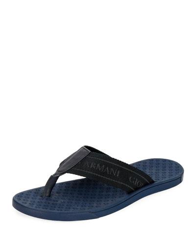 Men's Nylon-Web Thong Sandals, Blue