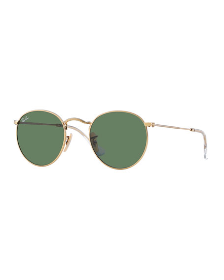 Men's Round Metal Sunglasses, Green