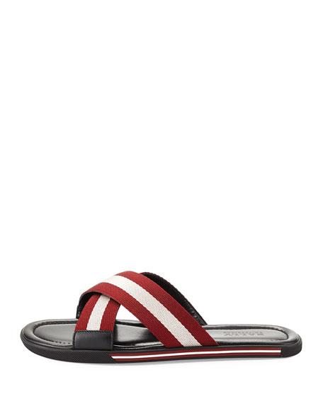 Bonks Men's Trainspotting-Stripe Fabric Slide Sandals, Red/White/Black