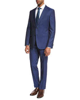 Track-Stripe Wool Two-Piece Suit, Bright Blue
