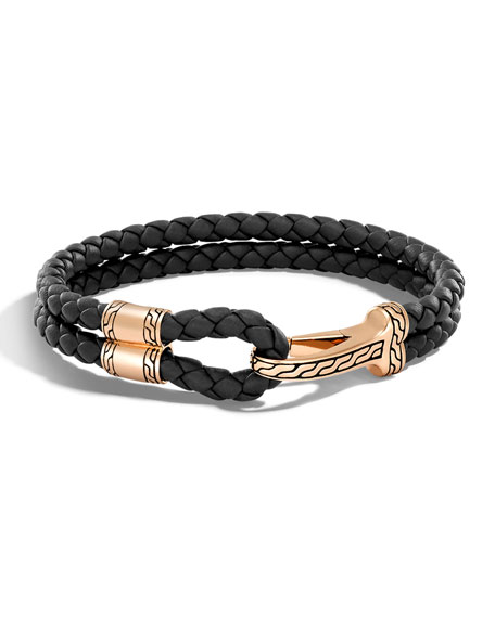 Men's Classic Chain Braided Leather Hook Station Bracelet