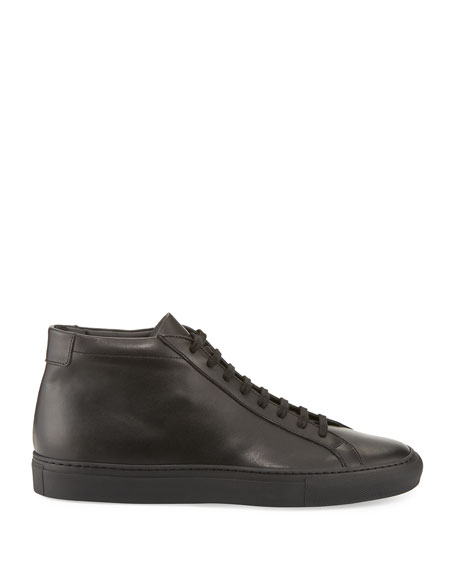 Basic Leather High-Top Sneaker, Black