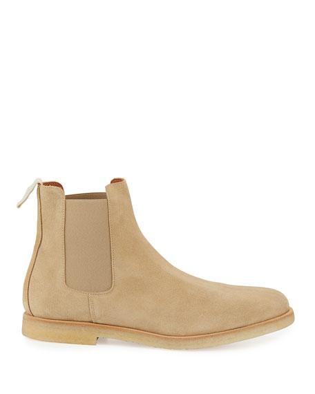 Calf Suede Chelsea Boot, Tan