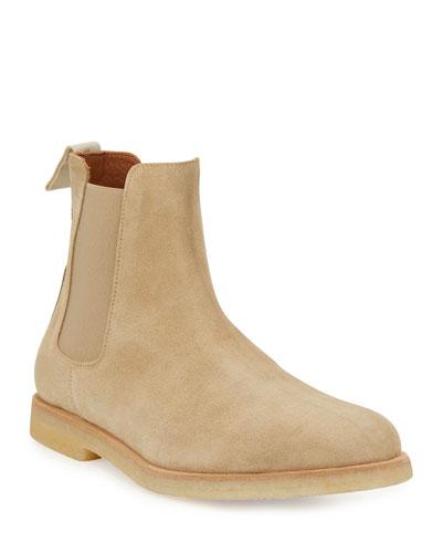 Calf Suede Chelsea Boot  Tan