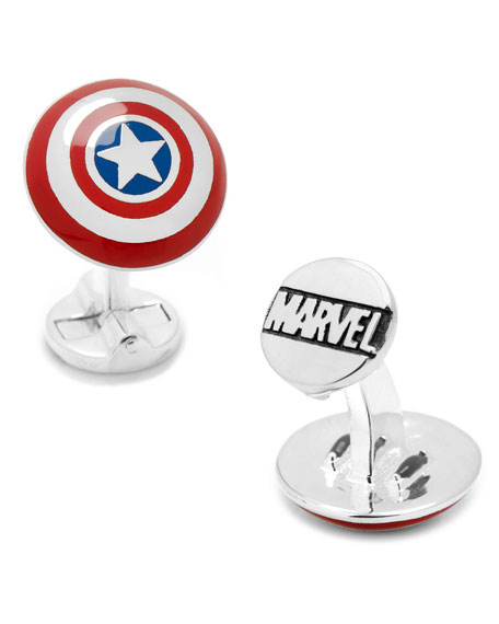 Cufflinks Inc. 3D Captain America Shield Cuff Links