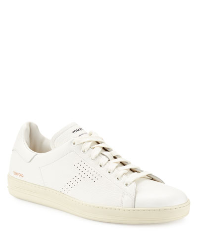 Men's Warwick Grained Leather Low-Top Sneakers  White